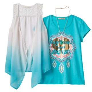 Girls 7-16 Self Esteem Patterned Sheer Vest & Graphic Tee Set with Necklace