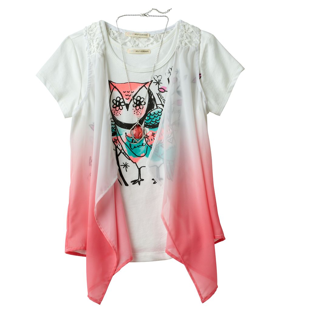 Girls 7-16 Self Esteem Patterned Sheer Vest & Graphic Tee Set with Necklace