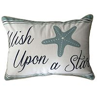 Coastal ''Wish Upon A Star'' Embroidered Oblong Throw Pillow