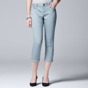 Women's Simply Vera Vera Wang Color Cuffed Capri Jeans