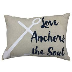 Coastal ''Love Anchors The Soul'' Oblong Throw Pillow