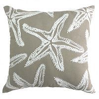 Coastal Starfish Embroidered Throw Pillow