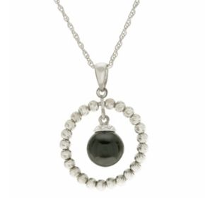 PearLustre by Imperial Sterling Silver Onyx Circle Pendant