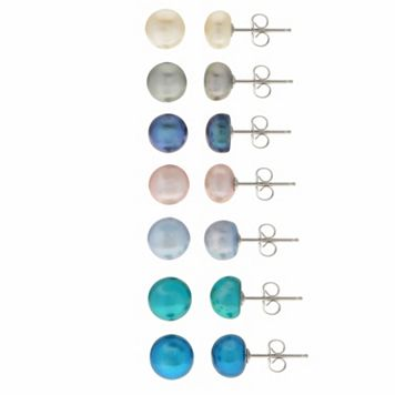 PearLustre by Imperial White & Dyed Freshwater Cultured Pearl Stud Earring Set