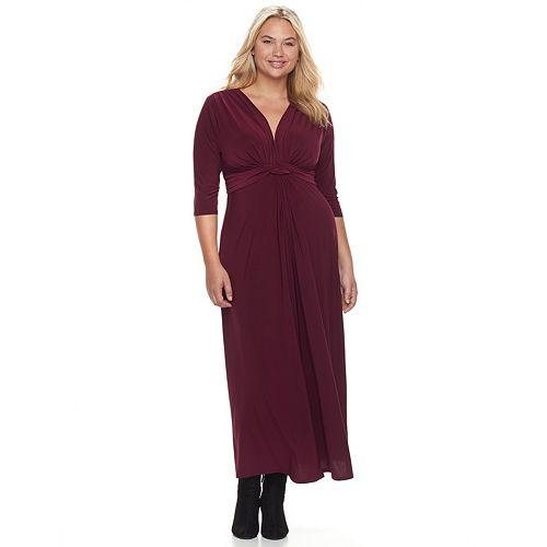 Juniors Plus Size Wrapper Knot Front Maxi Dress