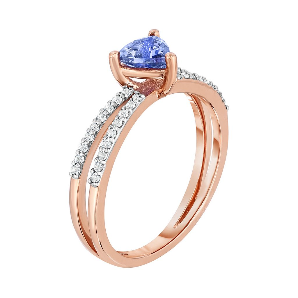 10k Rose Gold Tanzanite & White Topaz Ring