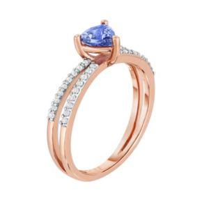 10k Rose Gold Tanzanite & White Topaz Ring