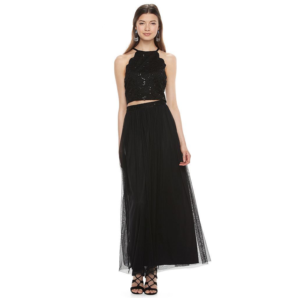 Juniors' Lily Rose Embellished Crop Top & Maxi Skirt Set