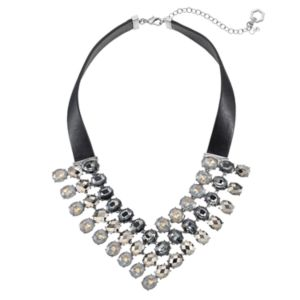Simply Vera Vera Wang Faux Leather Oval Stone Statement Necklace