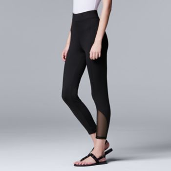 Simply Vera Vera Wang Soft Stretch Mesh Panel Skimmer Leggings