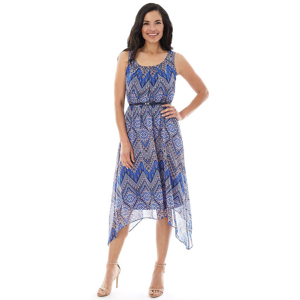 Women's AB Studio Chevron Handkerchief Midi Dress