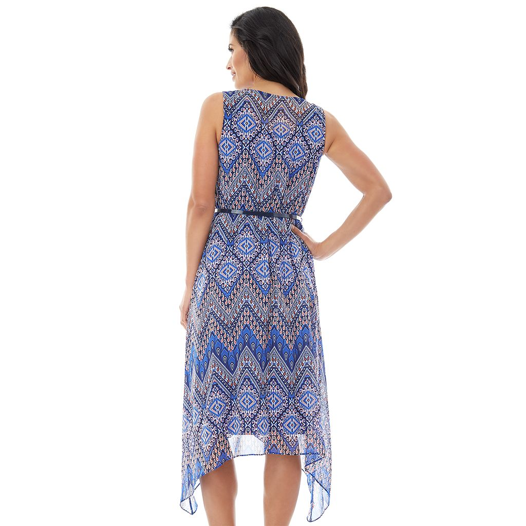 Women's AB Studio Chevron Handkerchief Midi Dress