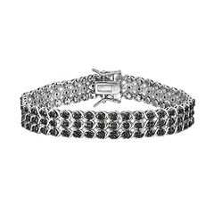 Sterling Silver 1 1/2 Carat T.W. Black Diamond Multirow Bracelet