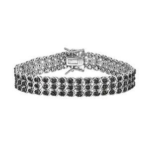 Sterling Silver 1 1/2 Carat T.W. Black Diamond Multirow Bracelet