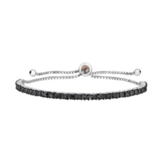 Sterling Silver 3 Carat T.W. Black Diamond Adjustable Bracelet