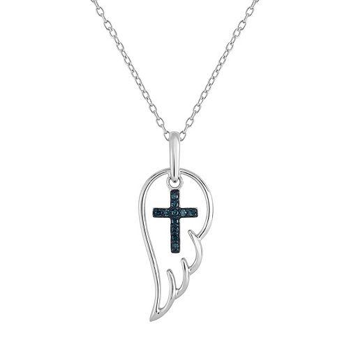 Sterling Silver 1/10 Carat T.W. Blue Diamond Cross & Angel Wing Pendant