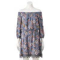 Juniors' Trixxi Floral Off-the-Shoulder Dress