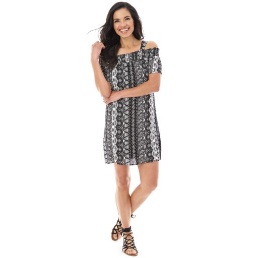 Women's AB Studio Printed Cold-Shoulder Shift Dress