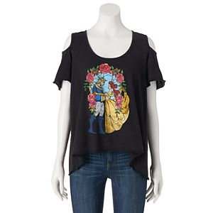 Disney's Beauty and the Beast Juniors' Cold-Shoulder Graphic Tee