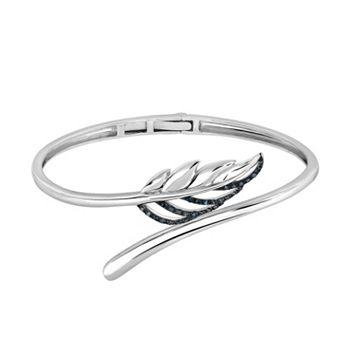 Sterling Silver 1/6 Carat T.W. Blue Diamond Leaf Bangle Bracelet
