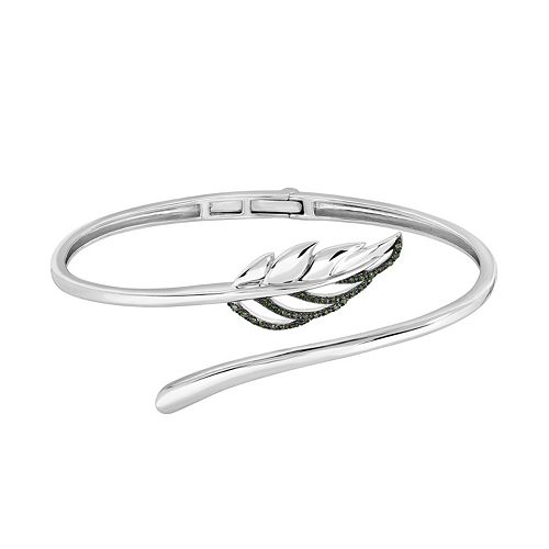 Sterling Silver 1/6 Carat T.W. Green Diamond Leaf Bangle Bracelet