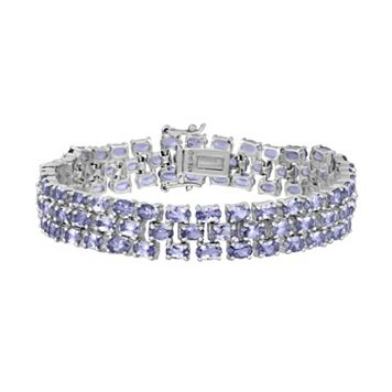 Sterling Silver Tanzanite Multirow Bracelet