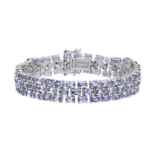 Sterling Silver Tanzanite Multirow Bracelet