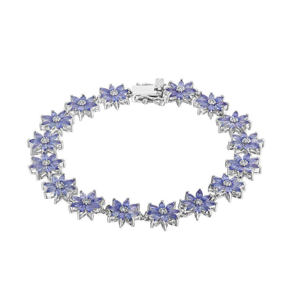 Sterling Silver Tanzanite & White Topaz Flower Bracelet