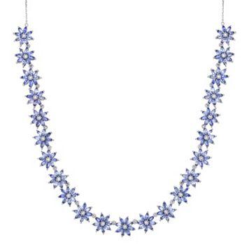 Sterling Silver Tanzanite & White Topaz Flower Necklace