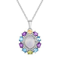 Sterling Silver Gemstone Oval Halo Pendant Necklace