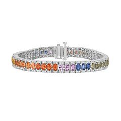Sterling Silver Gemstone Tennis Bracelet