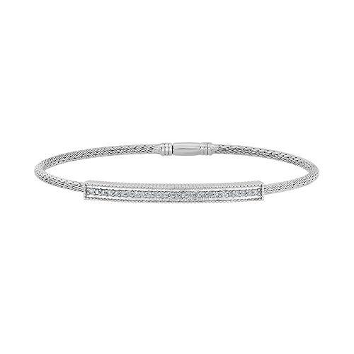 Sterling Silver 1/4 Carat T.W. Diamond Mesh Bangle Bracelet