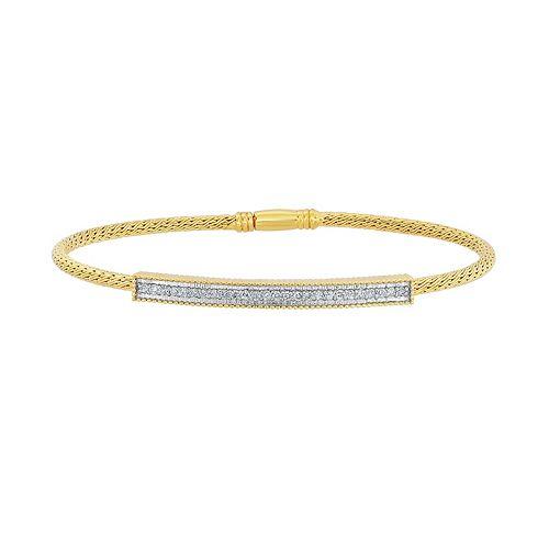 14k Gold Over Silver 1/4 Carat T.W. Diamond Mesh Bangle Bracelet