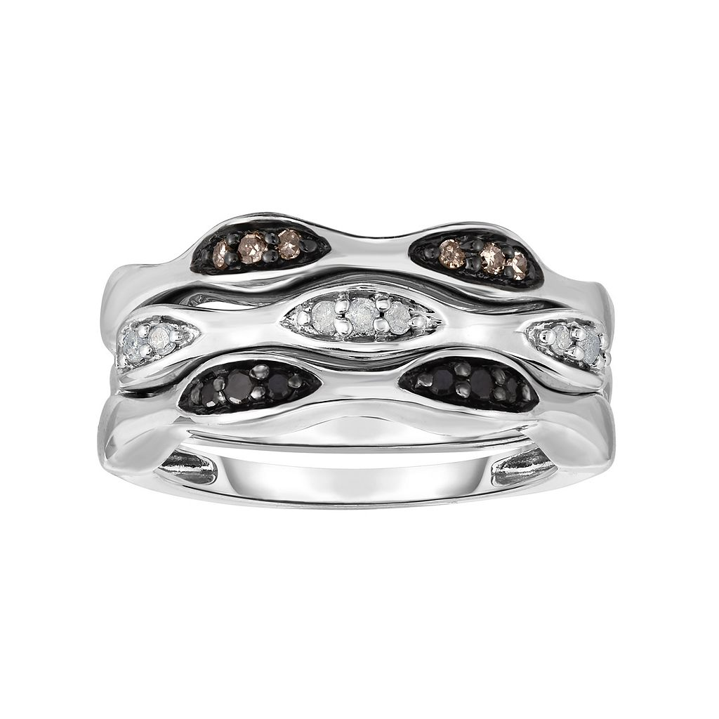 Sterling Silver 1/4 Carat T.W. Black, White & Champagne Diamond Stack Ring Set