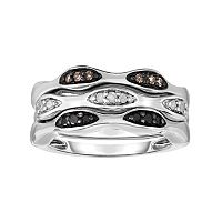 Sterling Silver 1/4 Carat T.W. Black, White & Champagne Diamond Stack Ring Set