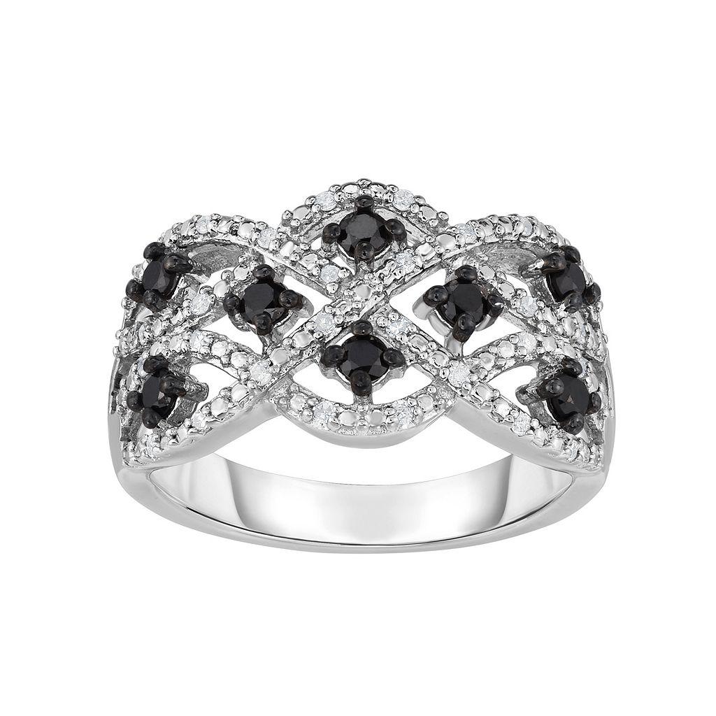 Sterling Silver 1/2 Carat T.W. Black & White Diamond Woven Ring