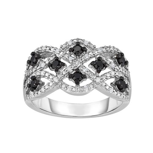 Sterling Silver 1/2 Carat T.W. Black & White Diamond Woven Ring