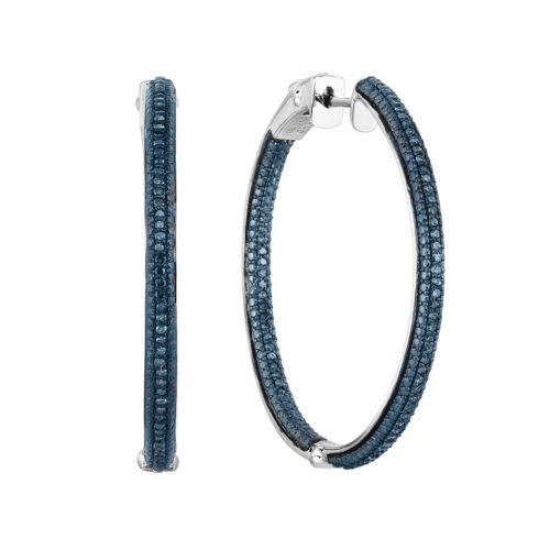 Sterling Silver 1/2 Carat T.W. Blue Diamond Inside-Out Hoop Earrings