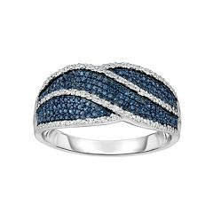 Sterling Silver 1/4 Carat T.W. Blue & White Diamond Ring