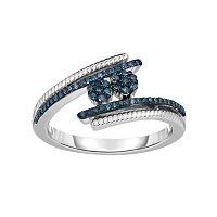 Sterling Silver 1/4 Carat T.W. Blue Diamond Bypass Ring