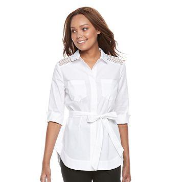 Petite Dana Buchman Tie Waist Shirt