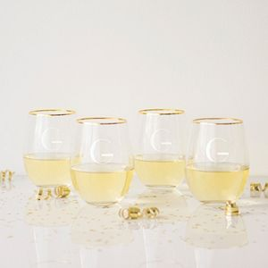 Cathy's Concepts 4-pc. Monogram Gold Rim Stemless Wine Set