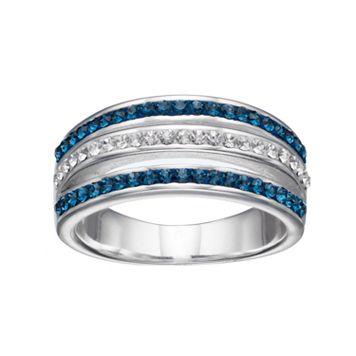 Silver Luxuries Crystal Split Multi Row Ring