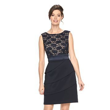 Women's Connected Apparel Lace Tiered Sheath Dress