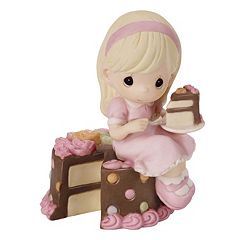 Precious Moments Girl Sitting On Birthday Cake Figurine