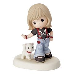 Precious Moments Girl Walking Cat Figurine