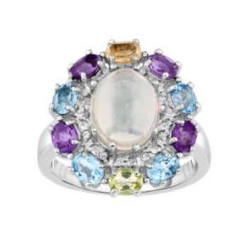 Sterling Silver Ethiopian Opal & Gemstone Flower Ring