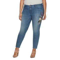 Plus Size Jennifer Lopez Embroidered Skinny Jeans
