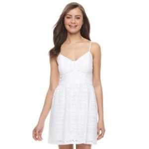 Juniors' Trixxi Strappy White Eyelet Dress