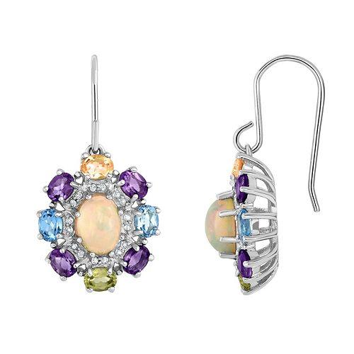 Sterling Silver Ethiopian Opal & Gemstone Flower Drop Earrings